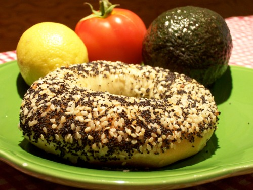 The everything bagel filled with miso, avocado sprinkled with lemon, and topped with tomato... yummm!
